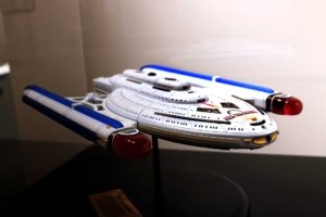 Fictional starship display model, U.S.S. Bellwether, NX-90866, Ingress Class science vessel with experimental Metawarp propulsion by Lynn A. Norton